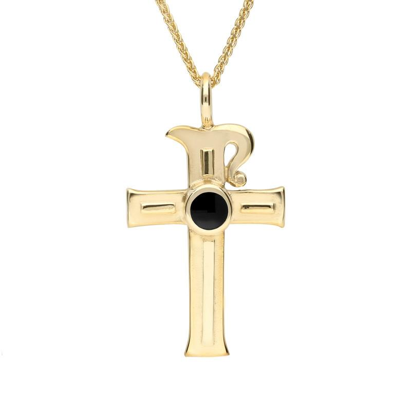 9ct Yellow Gold Whitby Jet Celtic Cross Necklace