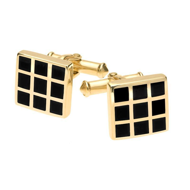 9ct Yellow Gold Whitby Jet Chequered Cufflinks