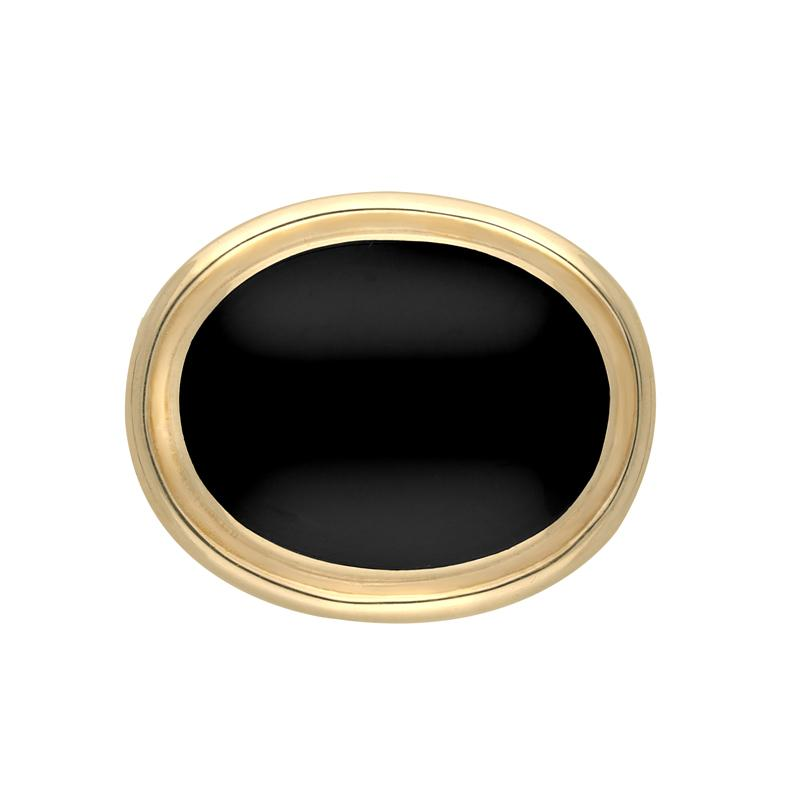 9ct Yellow Gold Whitby Jet Classic Framed Oval Brooch