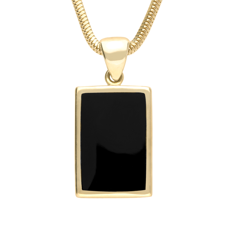 9ct Yellow Gold Whitby Jet Classic Rectangle Necklace