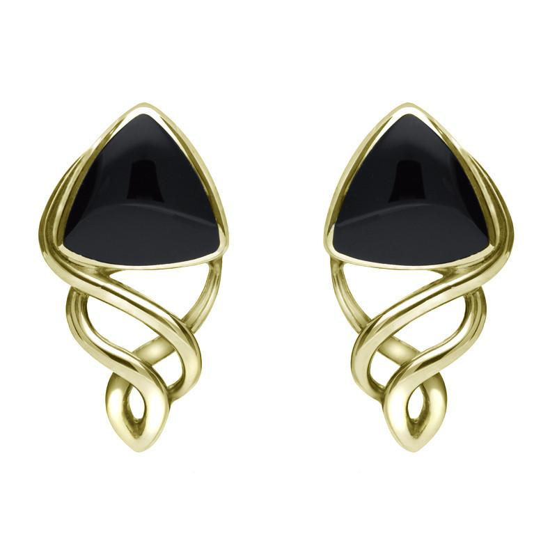 9ct Yellow Gold Whitby Jet Curve Triangle Celtic Stud Earrings