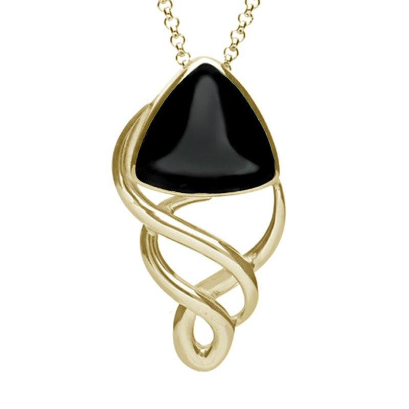 9ct Yellow Gold Whitby Jet Curved Triangle Celtic Necklace