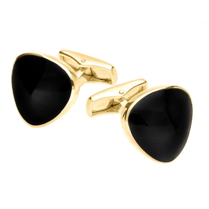 9ct Yellow Gold Whitby Jet Curved Triangle Cufflinks