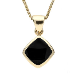 9ct Yellow Gold Whitby Jet Dinky Cushion Necklace P452