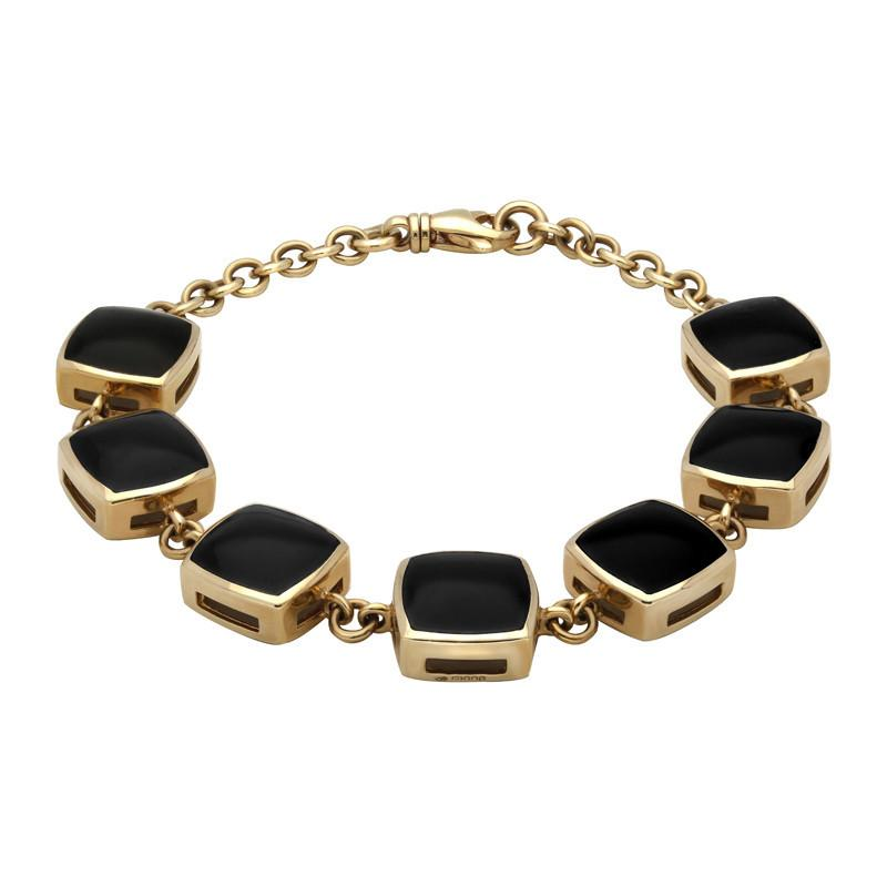 9ct Yellow Gold Whitby Jet Cushion Square Bracelet