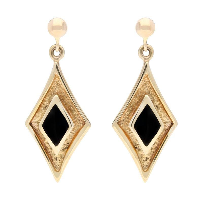 9ct Yellow Gold Whitby Jet Diamond Shaped Drop Earrings