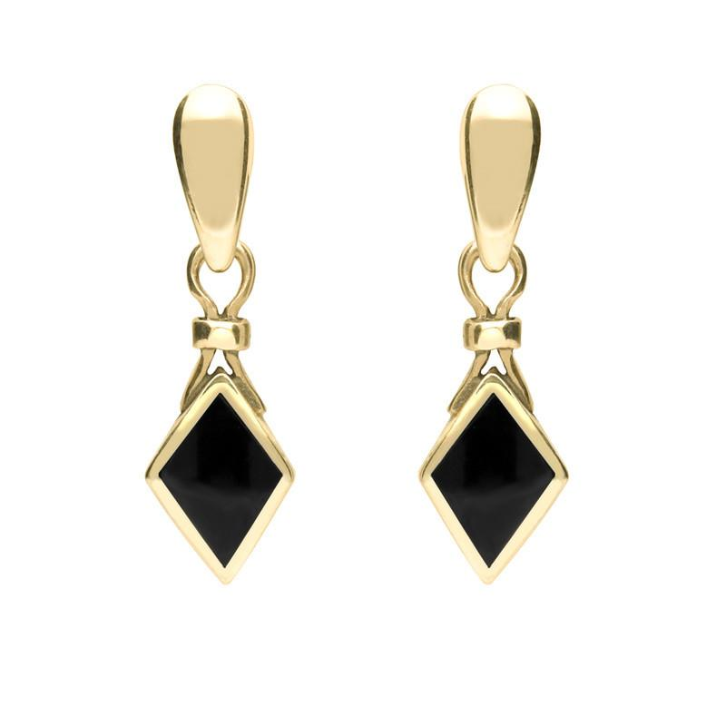9ct Yellow Gold Whitby Jet Dinky Diamond Shape Drop Earrings