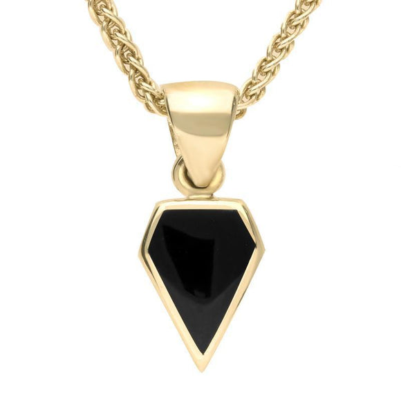 9ct Yellow Gold Whitby Jet Dinky Kite Necklace P455