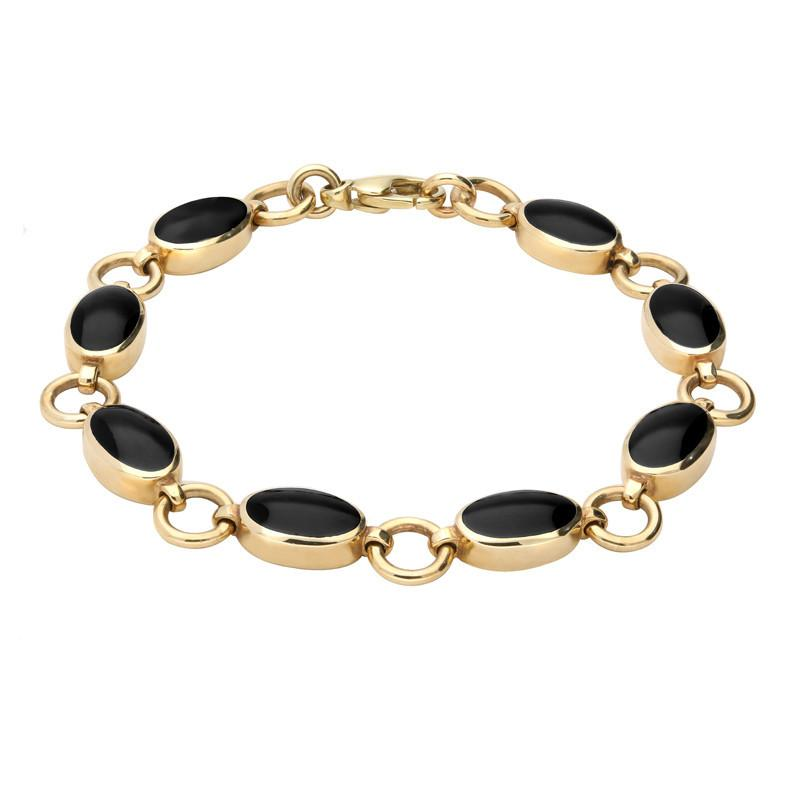 9ct Yellow Gold Whitby Jet  Eight Stone Round Ring Bracelet