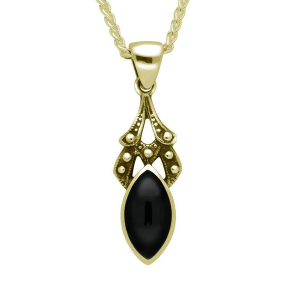9ct Yellow Gold Whitby Jet Marquise Drop Necklace. P089.