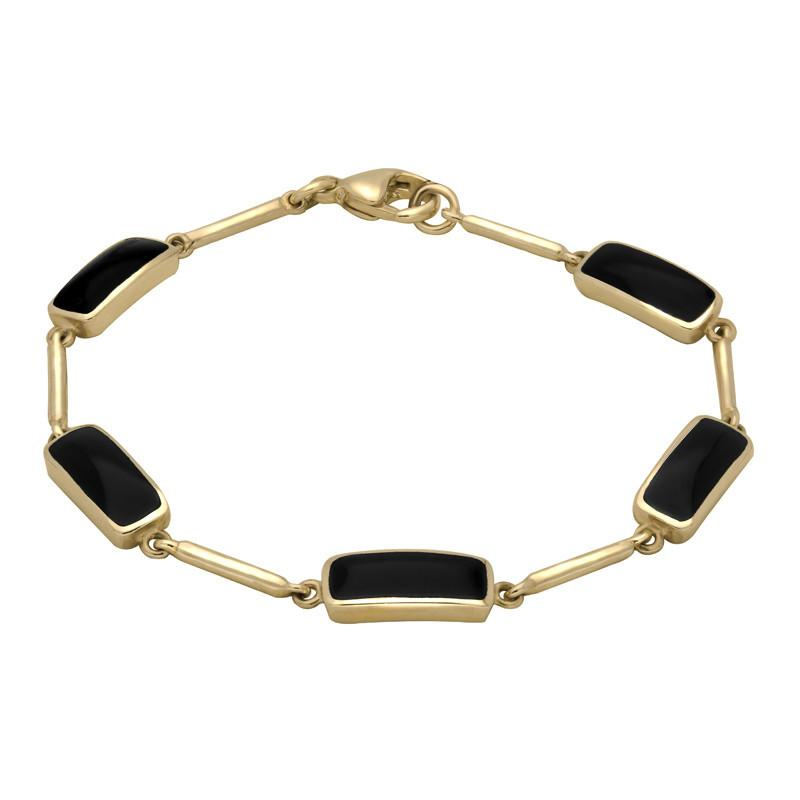 9ct Yellow Gold Whitby Jet Five Stone Oblong Bar Bracelet