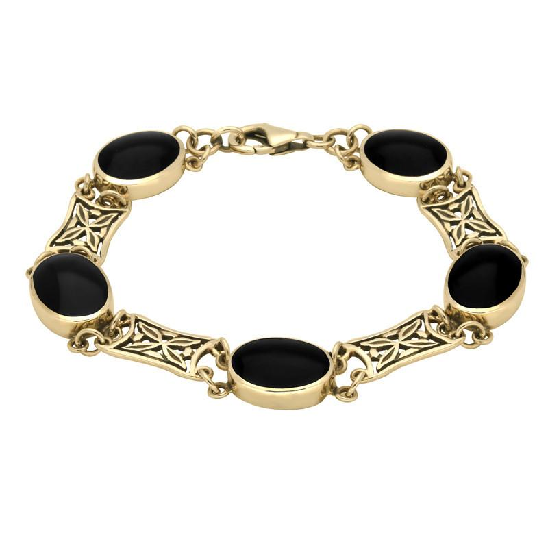 9ct Yellow Gold Whitby Jet Five Stone Pierced Oval Bracelet