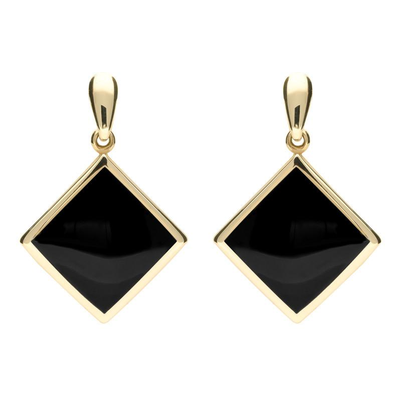 9ct Yellow Gold Whitby Jet Flat Square Drop Earrings