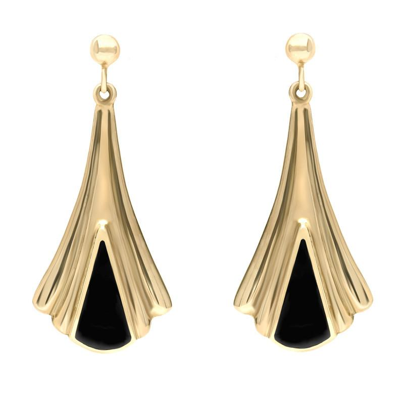 9ct Yellow Gold Whitby Jet Fleur Triangle Drop Earrings