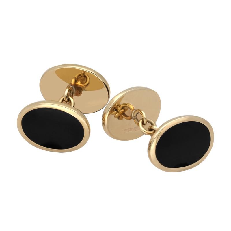 9ct Yellow Gold Whitby Jet Framed Oval Cufflinks