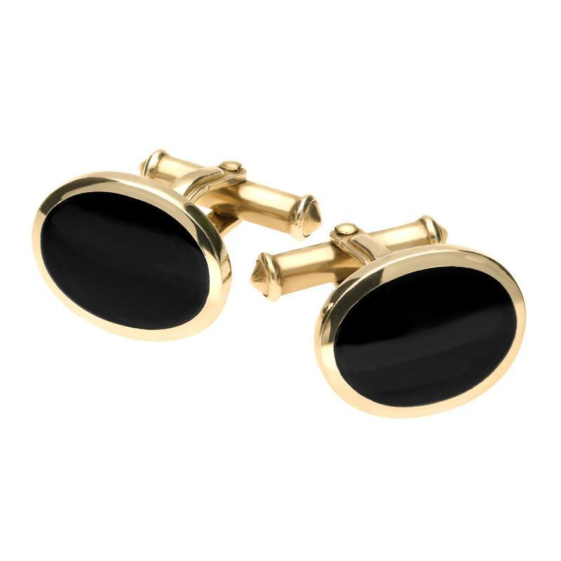 9ct Yellow Gold Whitby Jet Oval Cufflinks