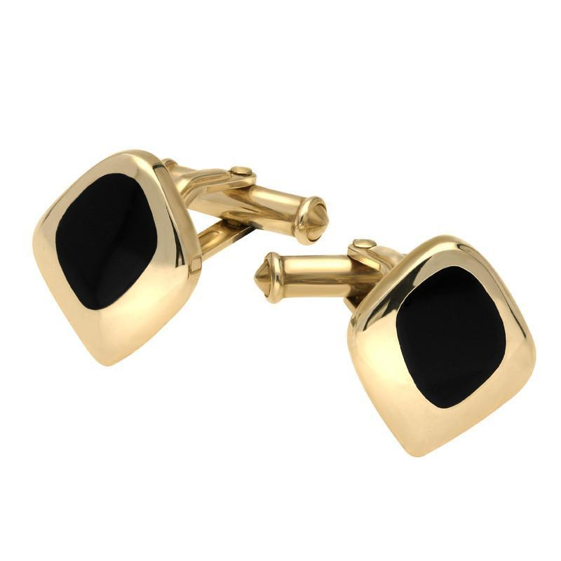9ct Yellow Gold Whitby Jet Freeform Square Cufflinks