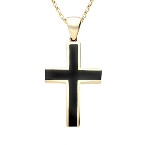 9ct Yellow Gold Whitby Jet Large Channel Cross Necklace P536
