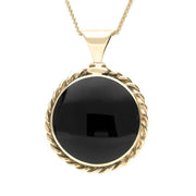 9ct Yellow Gold Whitby Jet Large Rope Edge Necklace P129