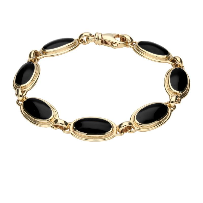 9ct Yellow Gold Whitby Jet Long Oval Ribbed Bracelet