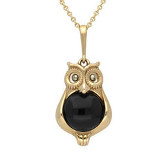 9ct Yellow Gold Whitby Jet Marcasite Small Owl Necklace