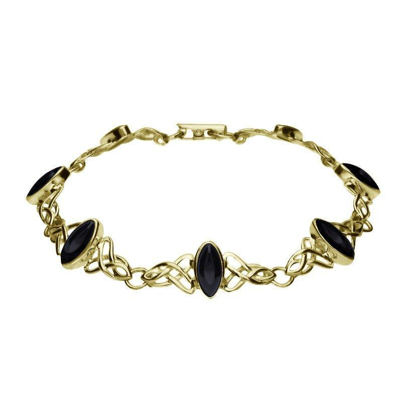 9ct Yellow Gold Whitby Jet Marquise Shaped Celtic Bracelet