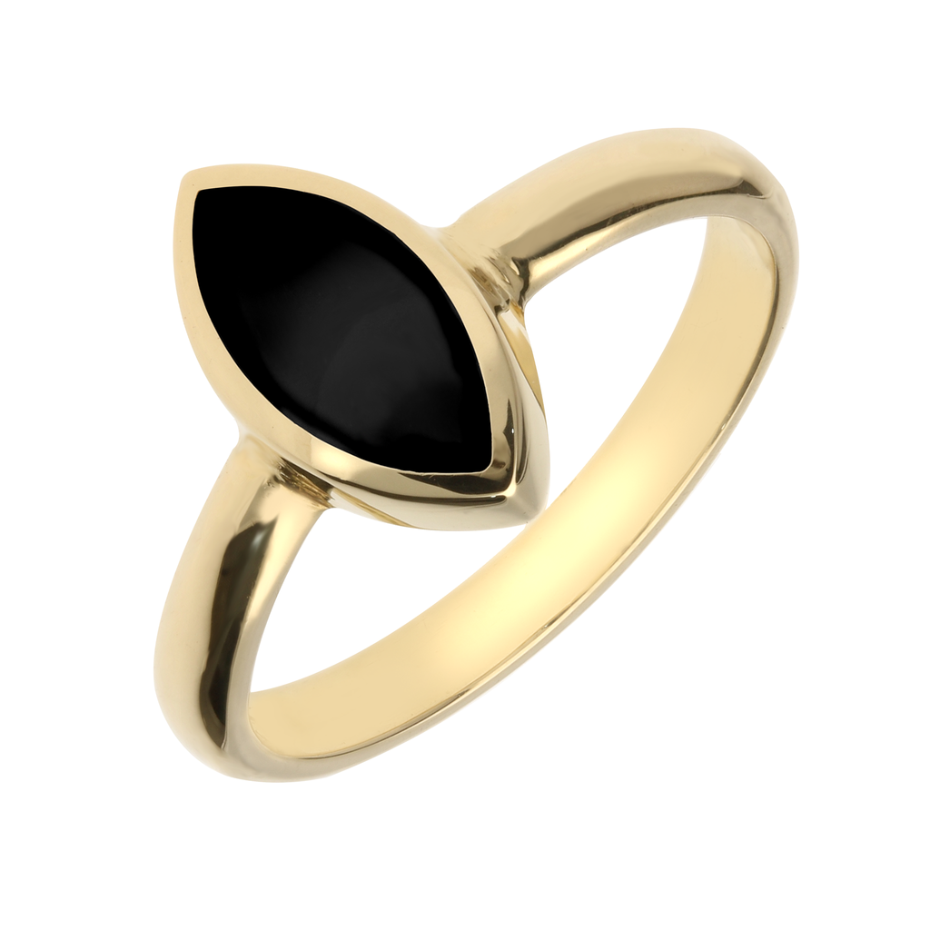 9ct Yellow Gold Whitby Jet Marquise Shaped Ring