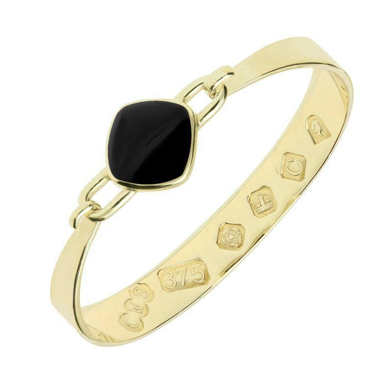 9ct Yellow Gold Whitby Jet Medium Heavy Cushion Bangle