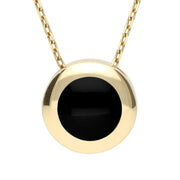 9ct Yellow Gold Whitby Jet Modern Framed Round Necklace P1149