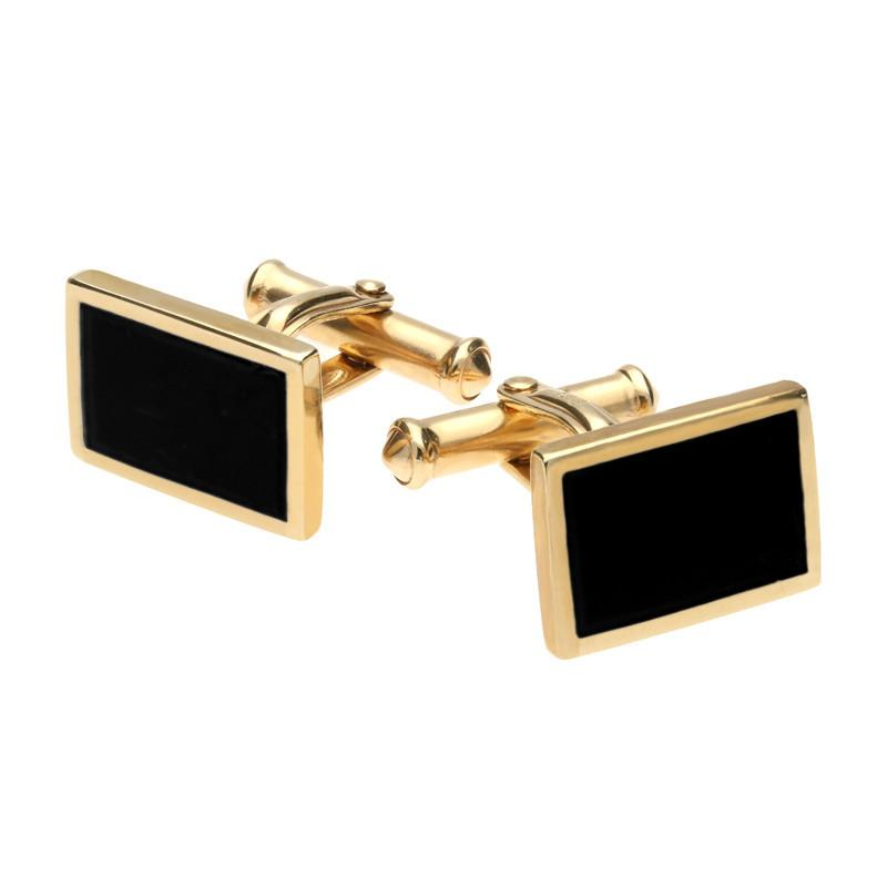9ct Yellow Gold Whitby Jet Oblong Flat Cufflinks