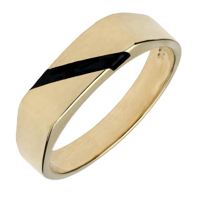 9ct Yellow Gold Whitby Jet One Stone Slither Signet Ring