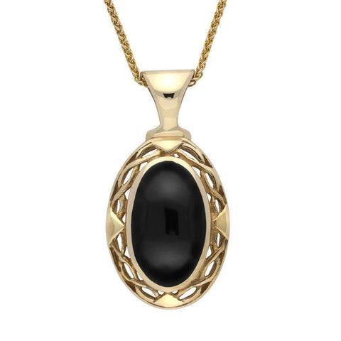 9ct Yellow Gold Whitby Jet Oval Celtic Necklace
