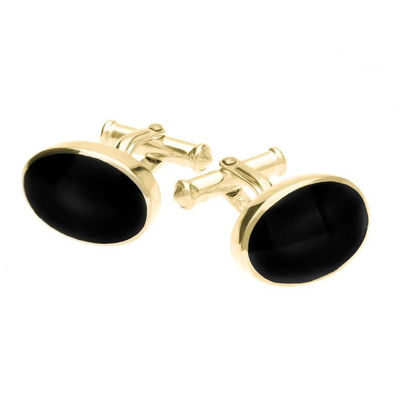 9ct Yellow Gold Whitby Jet Oval Cushion Cufflinks
