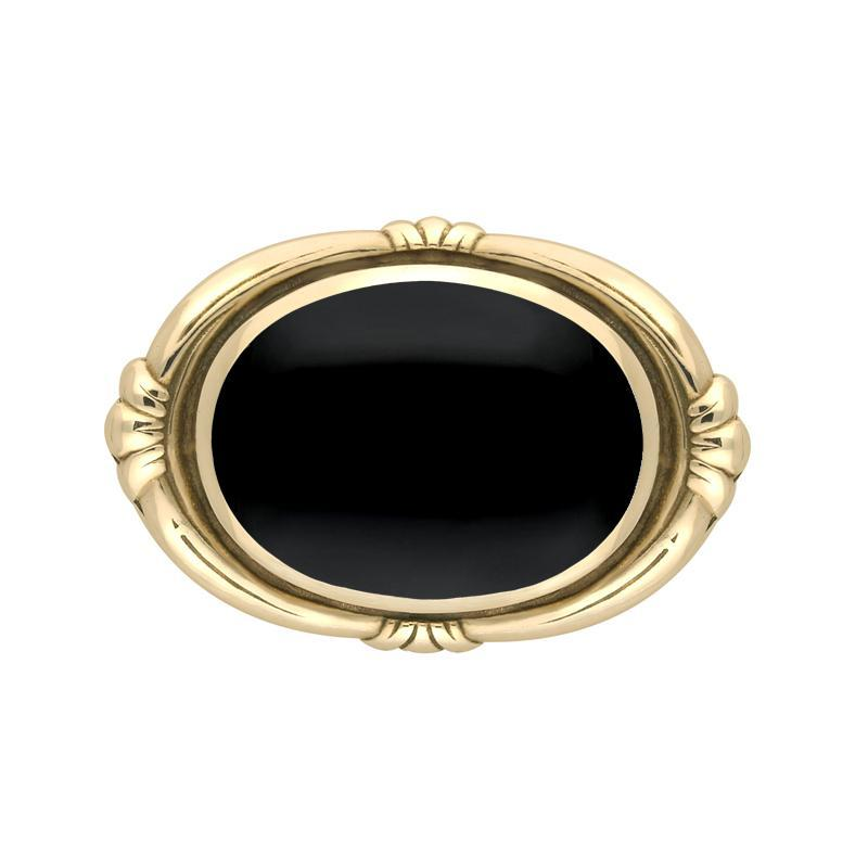 9ct Yellow Gold Whitby Jet Oval Fleur Brooch