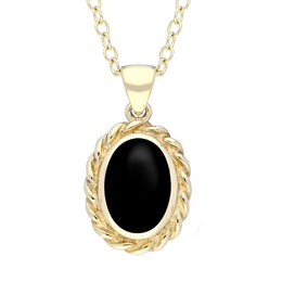 9ct Yellow Gold Whitby Jet Oval Rope Frame Necklace. P446.
