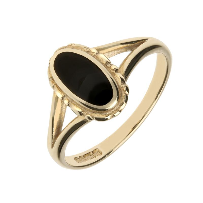 9ct Yellow Gold Whitby Jet Oval Split Shank Ring