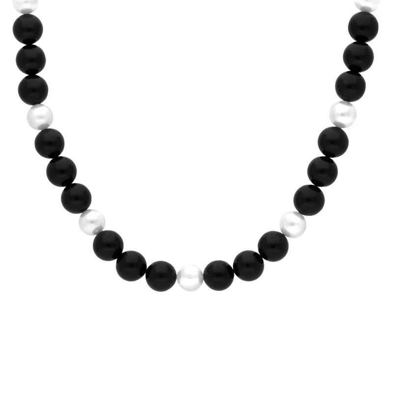 9ct Yellow Gold Whitby Jet Pearl Bead Necklace