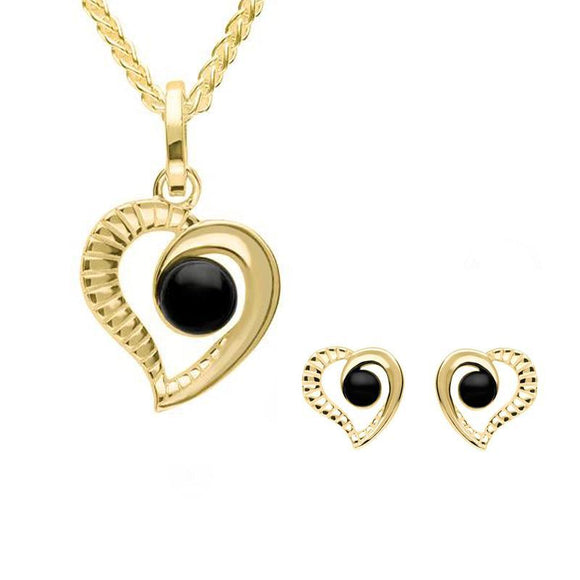9ct Yellow Gold Whitby Jet Ridged Heart Two Piece Set S021