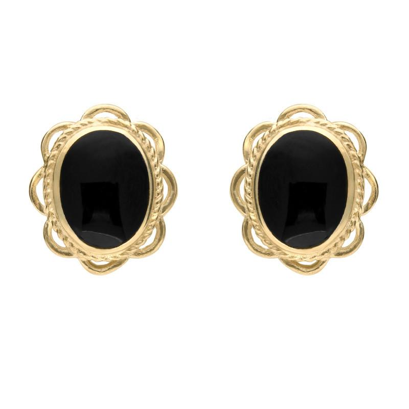9ct Yellow Gold Whitby Jet Rope Frill Edge Oval Stud Earrings