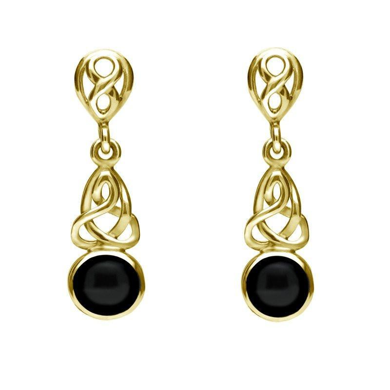 9ct Yellow Gold Whitby Jet Round Celtic Dropper Earrings