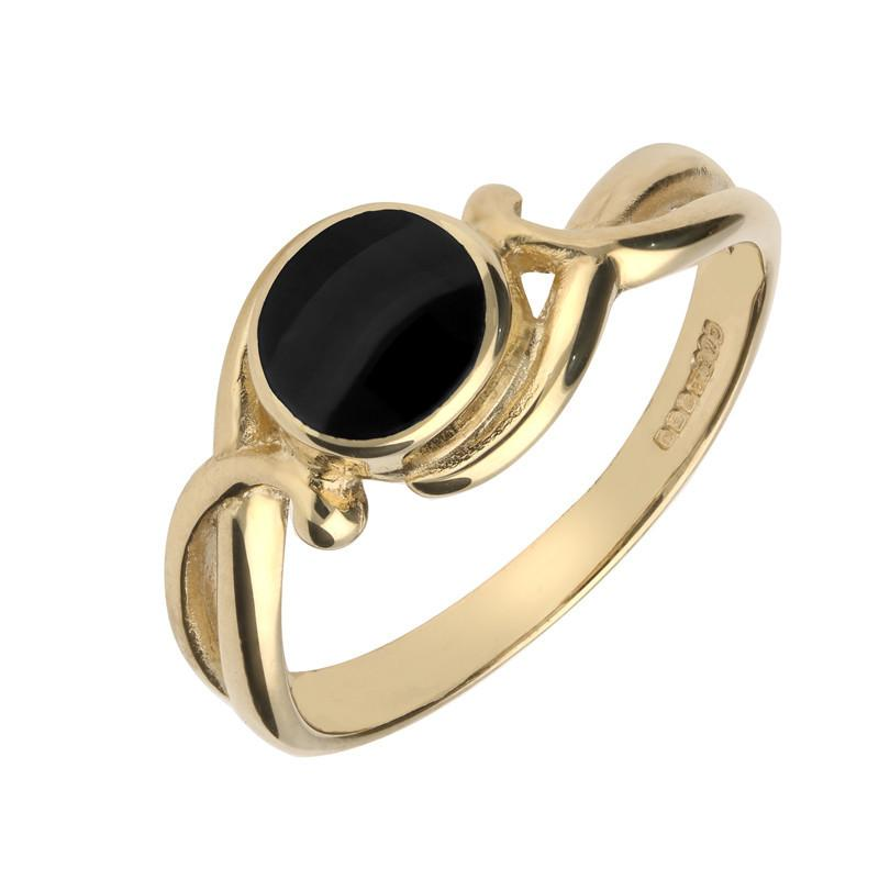 9ct Yellow Gold Whitby Jet Round Scroll Ring