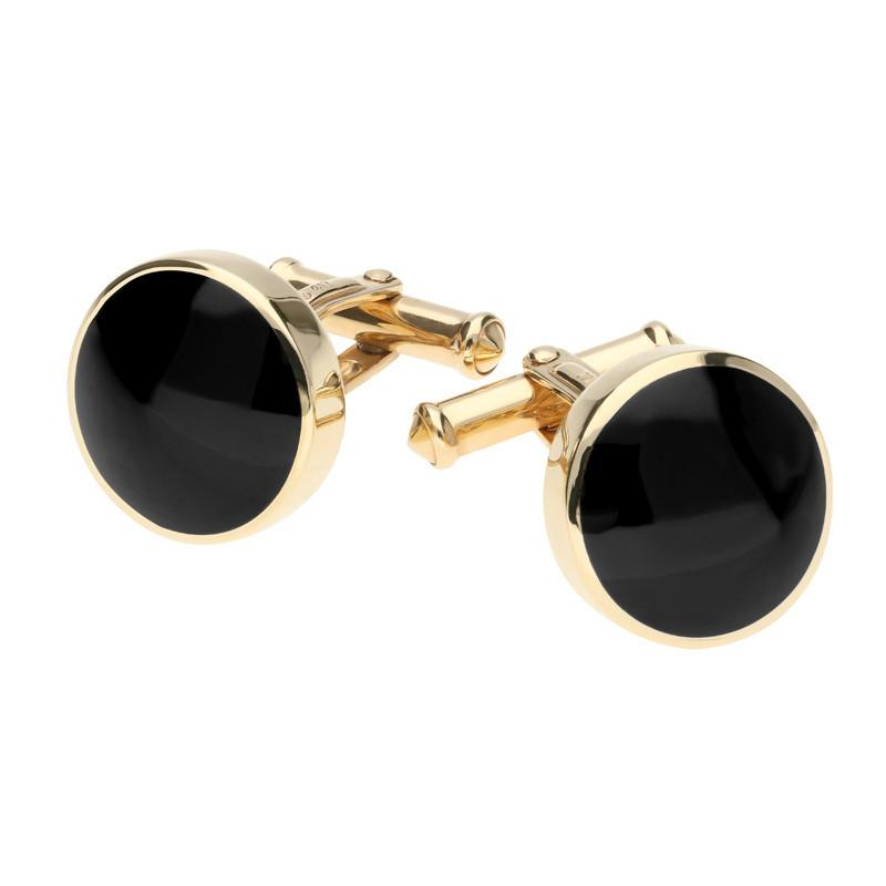 9ct Yellow Gold Whitby Jet Round Shape Cufflinks