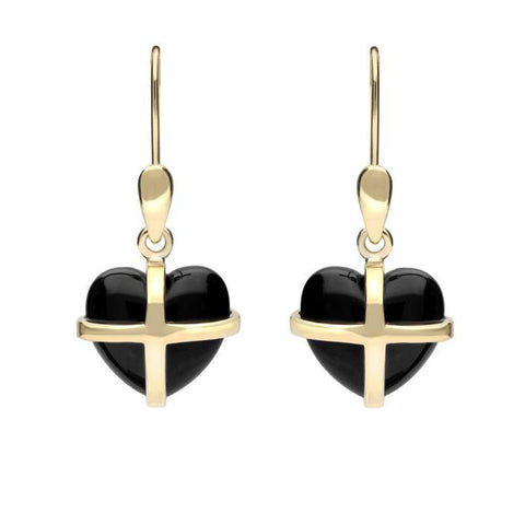 9ct Yellow Gold Whitby Jet Small Cross Heart Drop Earrings
