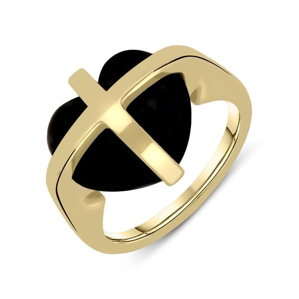9ct Yellow Gold Whitby Jet Small Cross Heart Ring