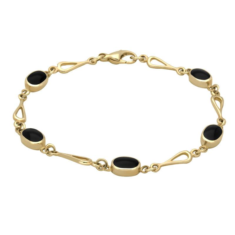 9ct Yellow Gold Whitby Jet Spoon Linked Bracelet