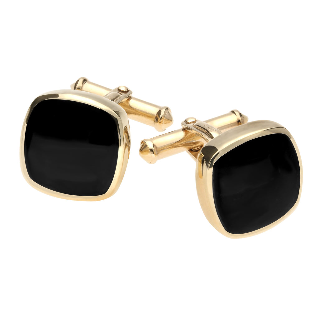 9ct Yellow Gold Whitby Jet Square Cushion Cufflinks