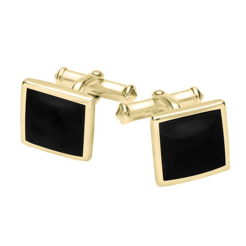 9ct Yellow Gold Whitby Jet Square Flat Cufflinks