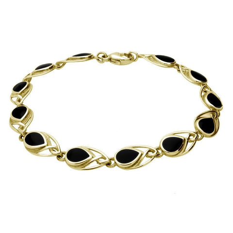 9ct Yellow Gold Whitby Jet Twelve Stone Pear Celtic Bracelet