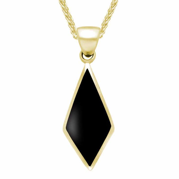 9ct Yellow Gold Whitby Jet Diamond Shaped Necklace P390