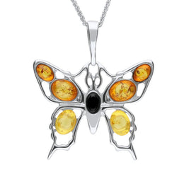 Baltic Amber Butterfly Pendant Large Silver Necklace. P2166.